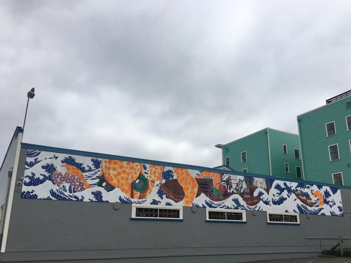 Octopus mural near the waterfront in downtown Eureka California