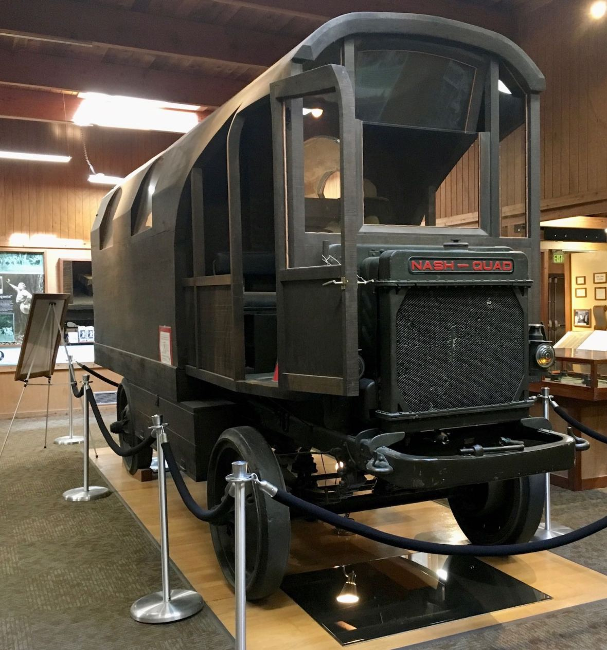Charles Kellogg's travel log redwood tree truck in Humboldt Redwoods State Park visitor center
