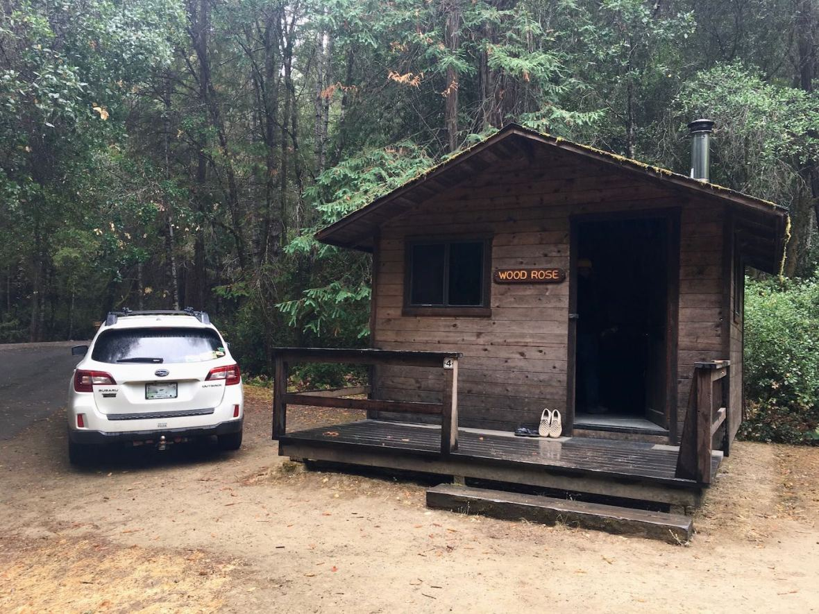 Primitive cabin at California's Hendy Woods State Park