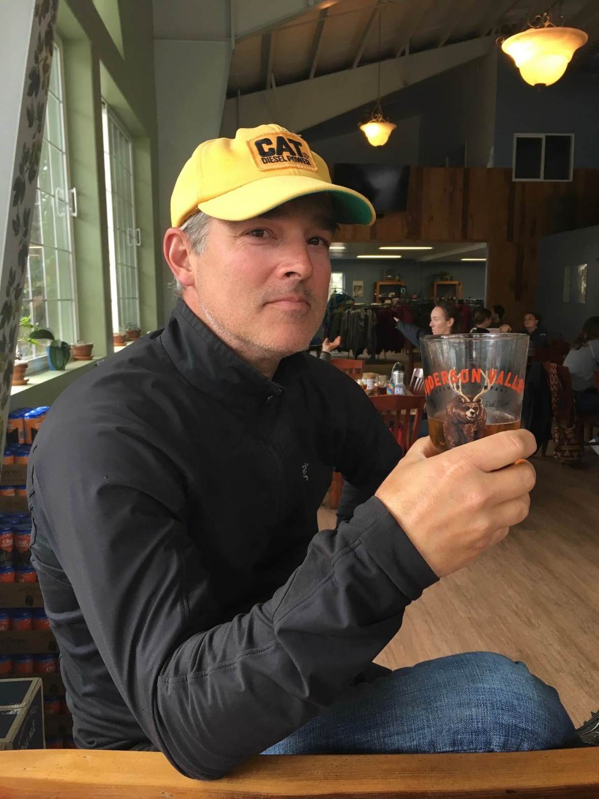 Bahl hornin' (good drinking) at Anderson Valley Brewing tap room in Boonville, California