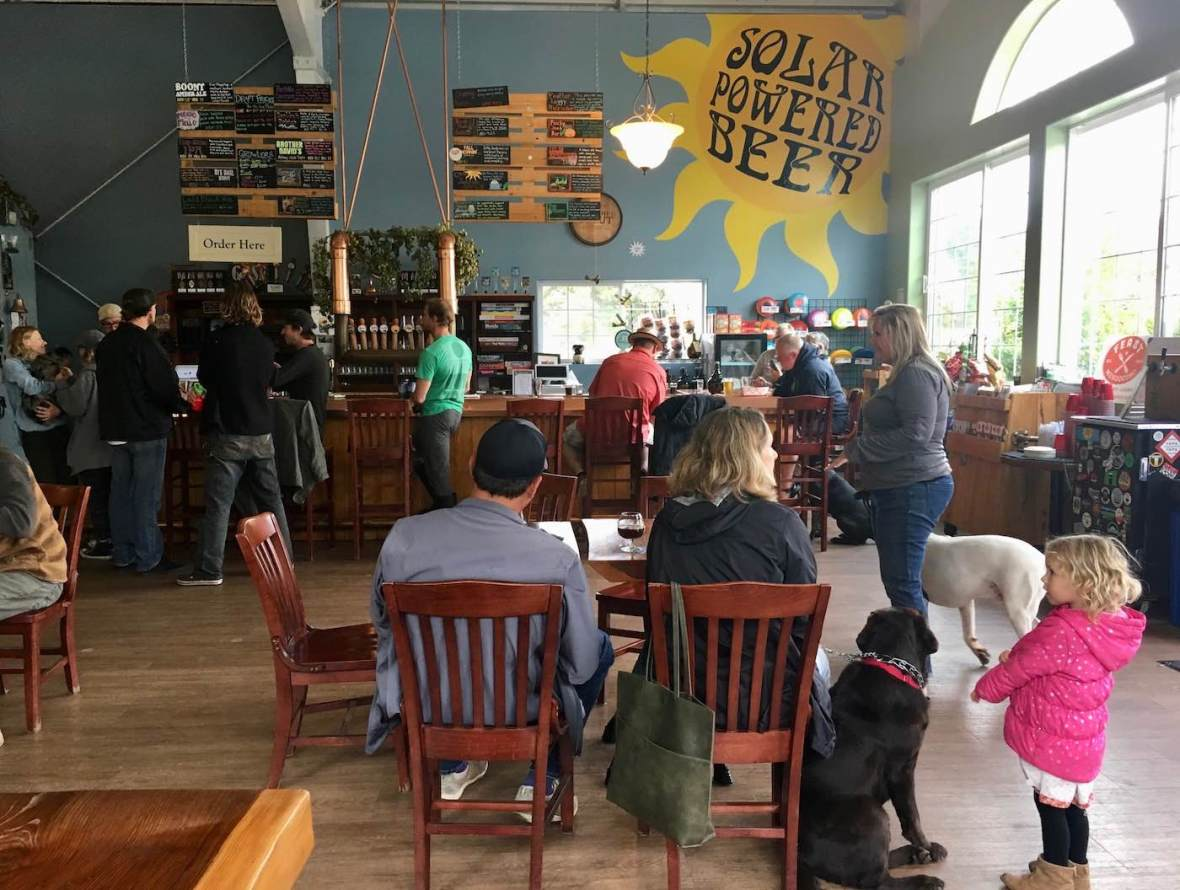 Dog-friendly and family-friendly Anderson Valley Brewing tap room in Boonville, California