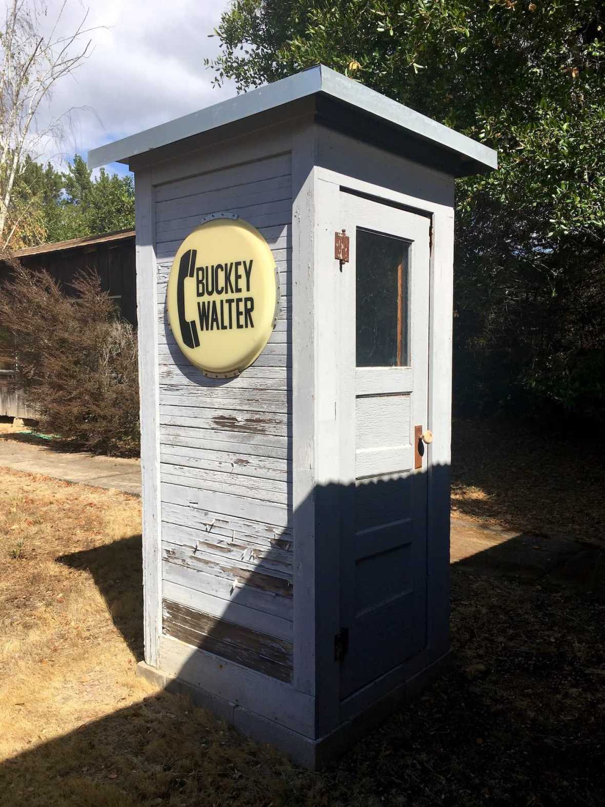Buckey Walter (phone booth in Boontling) at the Anderson Valley Historical Society museum in Boonville, California