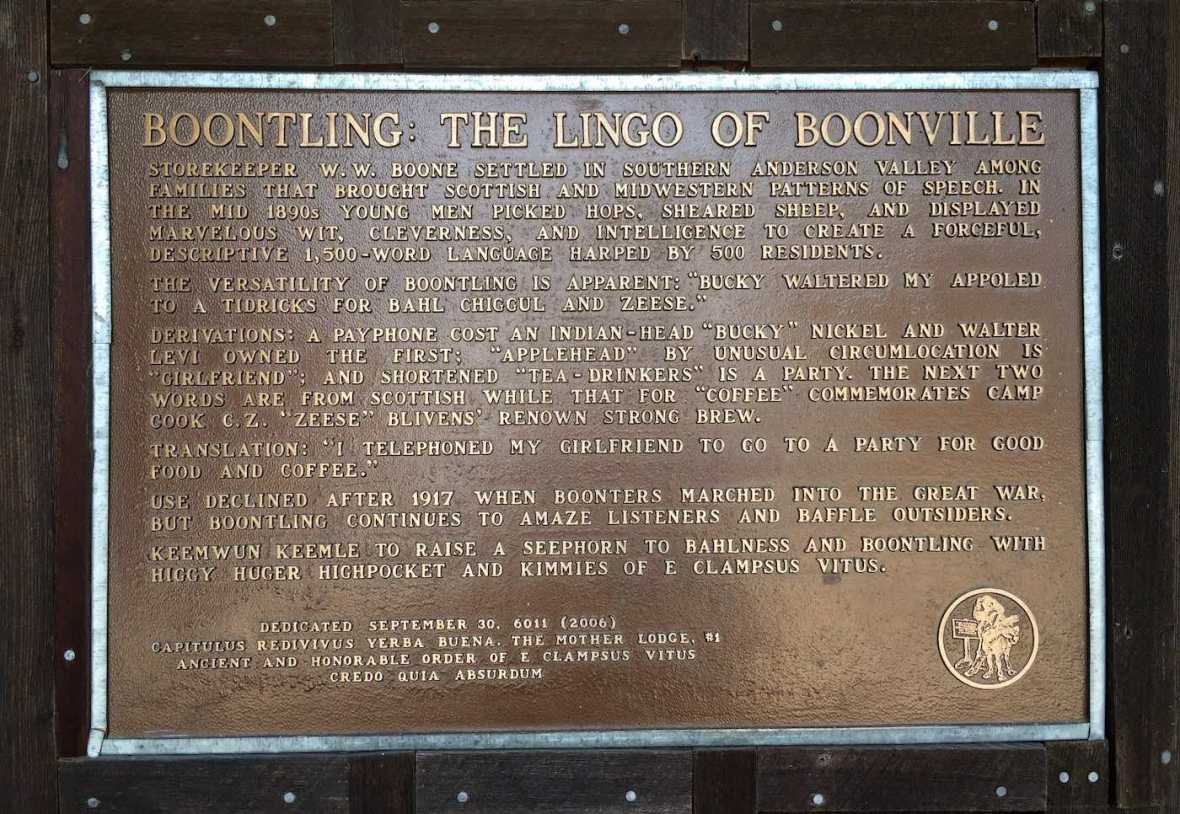 Boontling Language Boonville dialect Anderson Valley jargon historic plaque