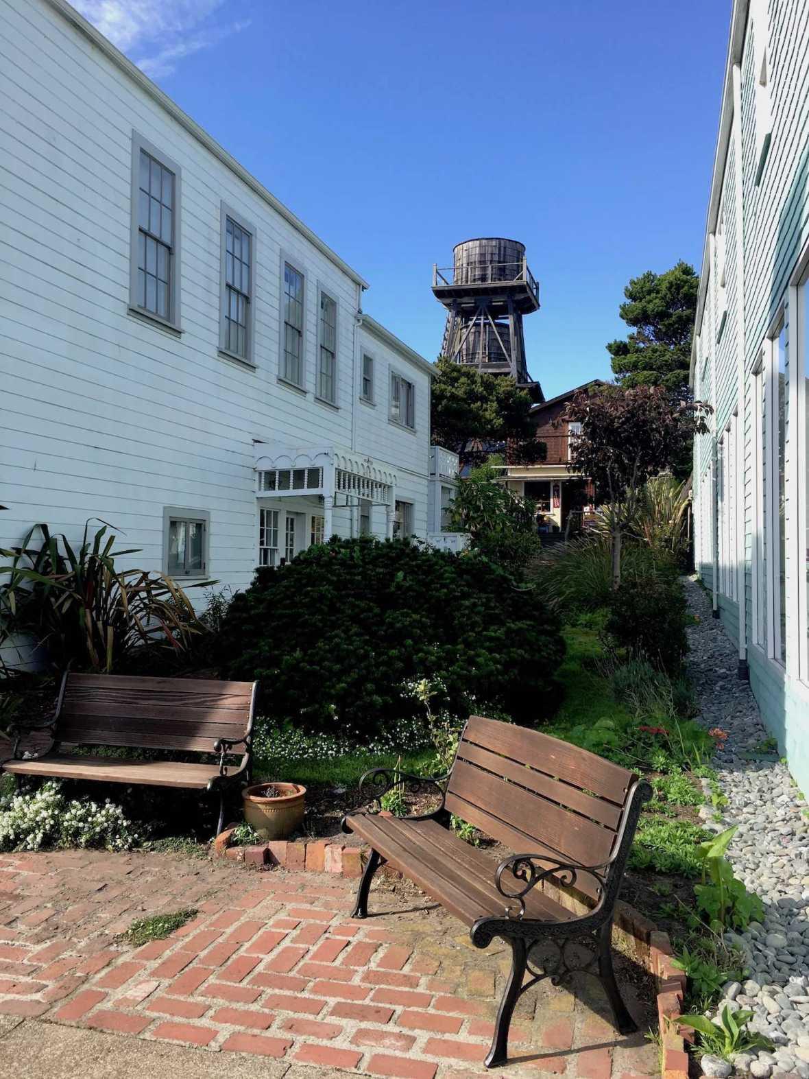 Pocket garden and water tower in Mendocino, California