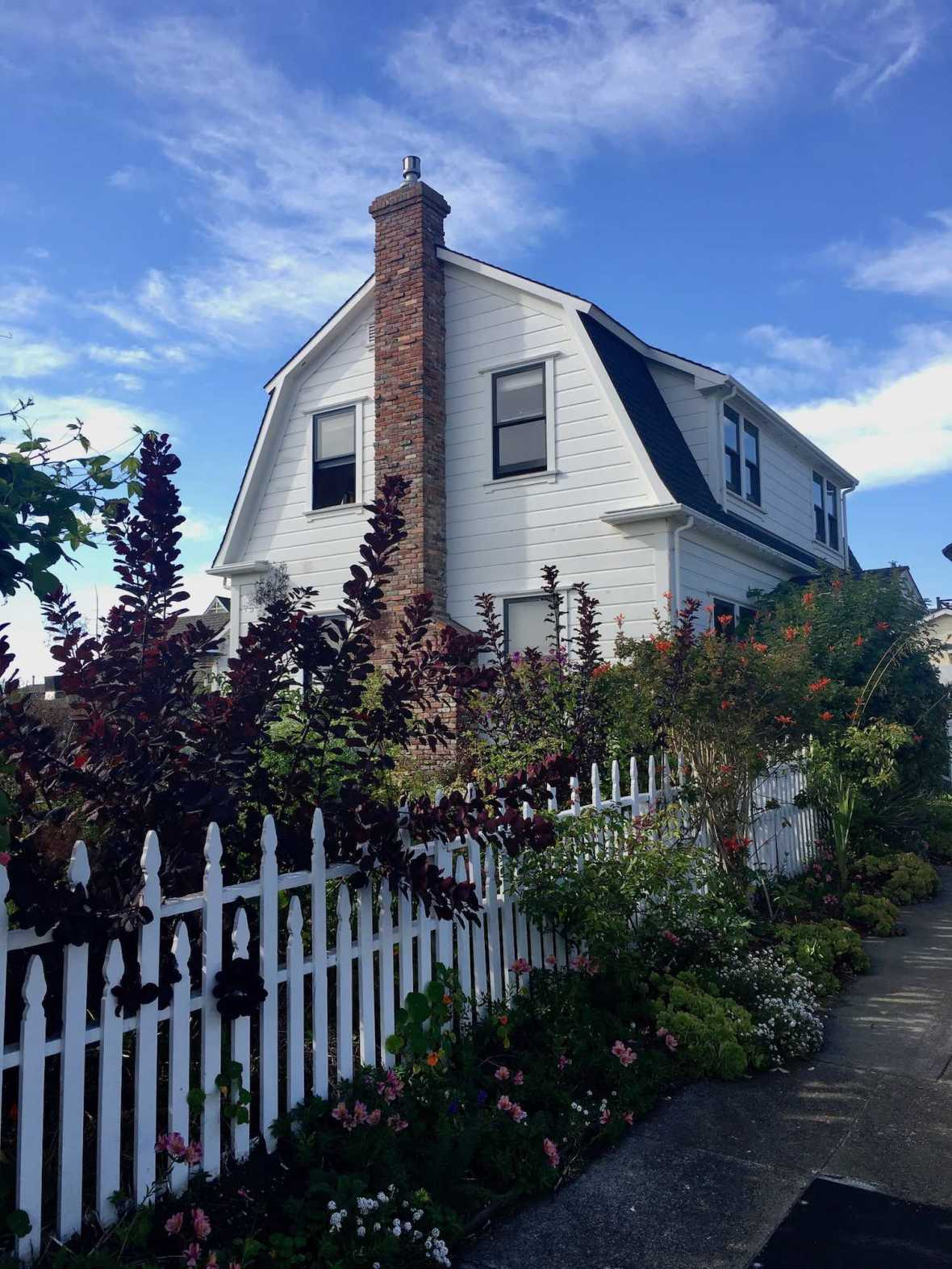 Gardens and New England village architecture in Mendocino, California
