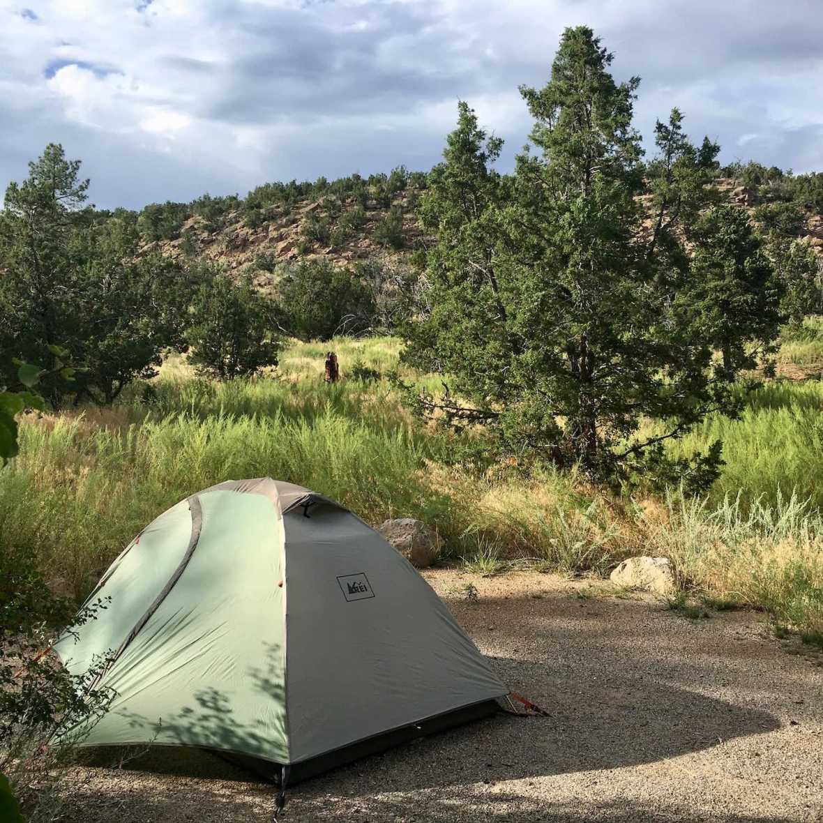 Camping at the Juniper Family campground in Bandelier National Monument