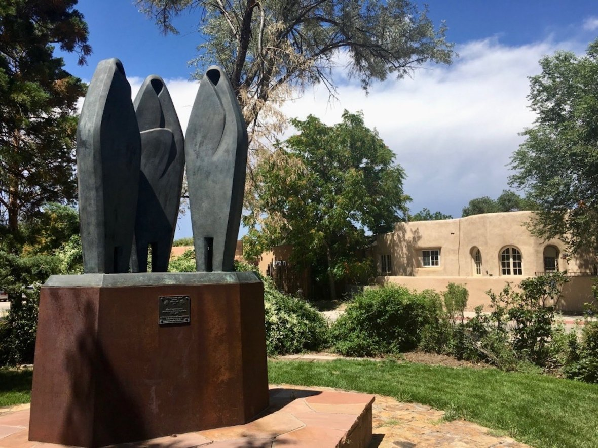 "Sculpture Garden surrounding the State Capitol Building ""Roundhouse"" in Santa Fe"