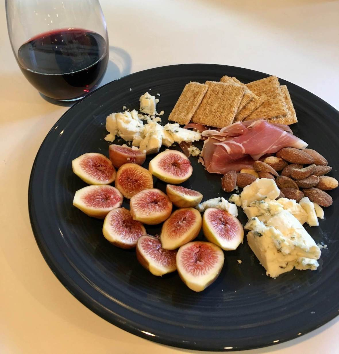 Prosciutto, figs, almonds, and blue cheese from Point Reyes
