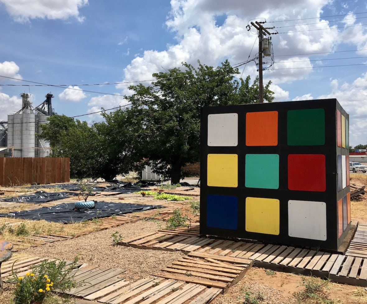 Giant Rubiks Cube at the Turquoise Coffee Stop in Chillicothe, Texas
