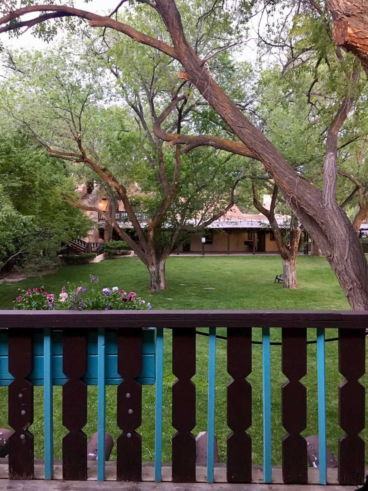 Overlooking one of the courtyards at the Historic Sagebrush Inn in Taos, New Mexico