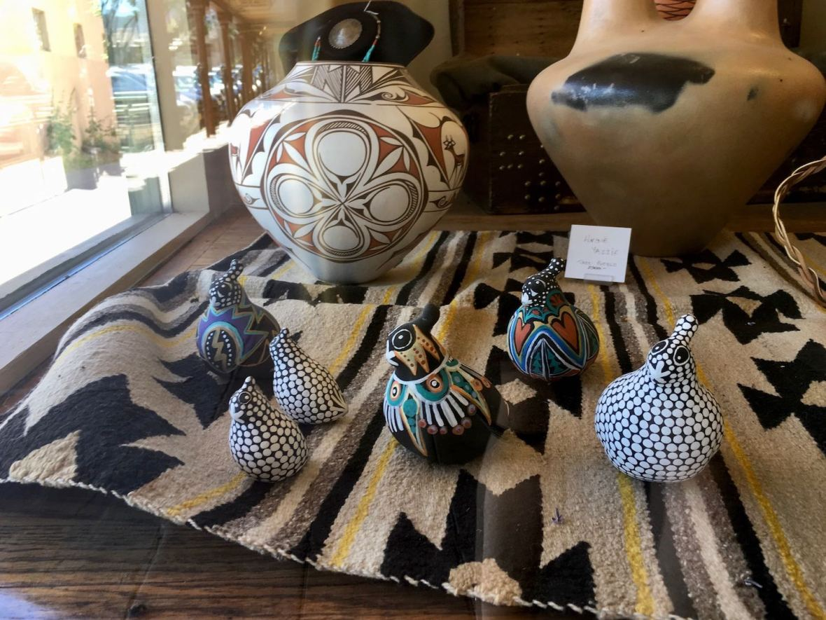Art pottery clay quail sculptures found at Taos, New Mexico gallery