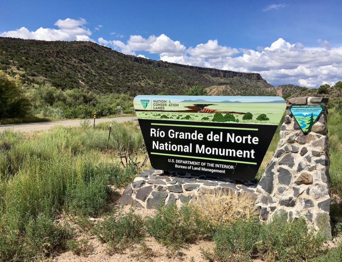 Rio Grande del Norte National Monument Sign in Rio Grande gorge near Taos, New Mexico