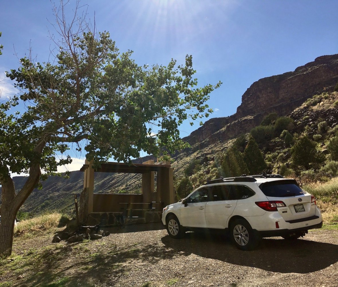 Subaru at my campsite at Taos Junction Campground in Orilla Verde Recreation Area