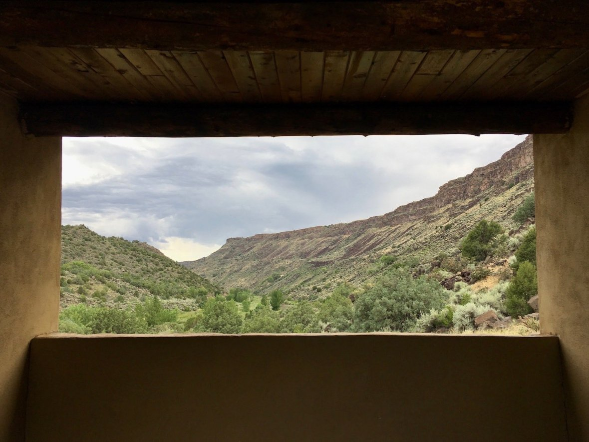 View from the adobe shade pavilion at my campsite at Taos Junction Campground in Orilla Verde Recreation Area