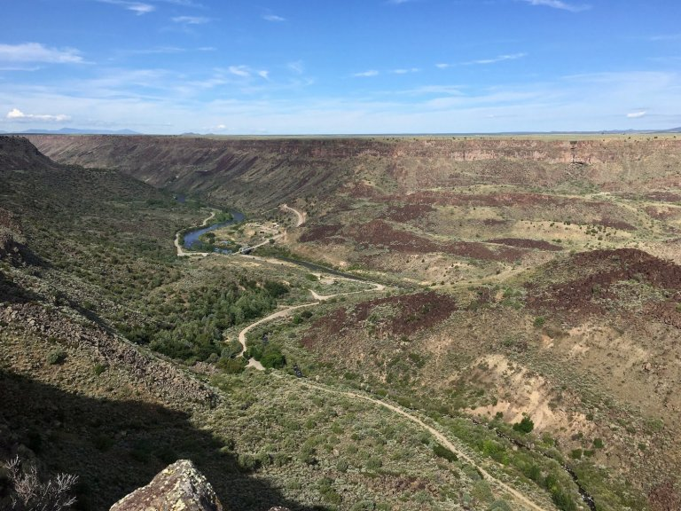 Orilla Verde Recreation Area in the Rio Grande Gorge, viewed from Eastern Rim trails in Rio Grand del Norte National Monument