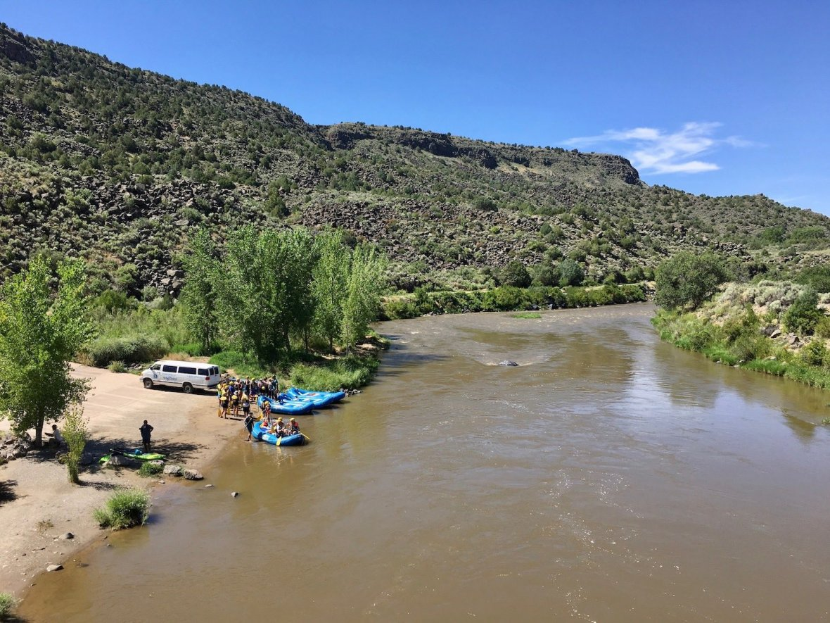 Rafts launching on the Rio Grande in Orilla Verde Recreation Area