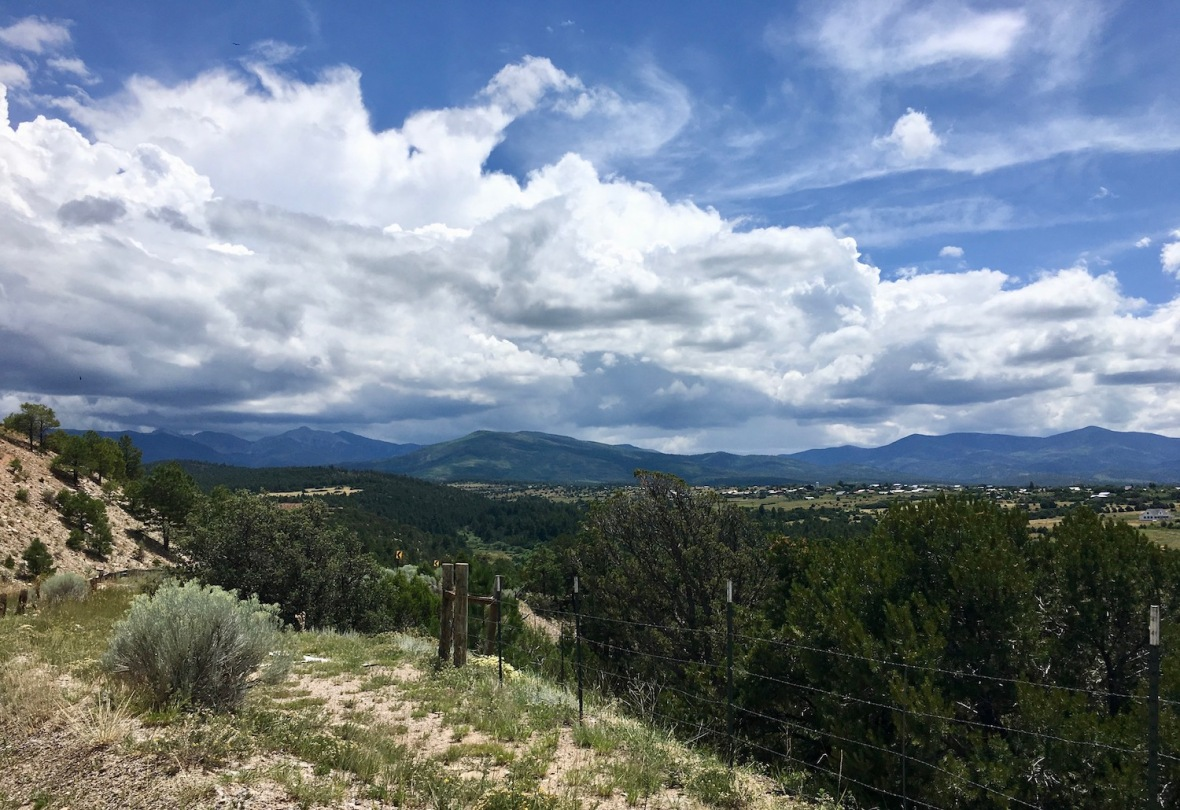 View of the Truchas Peaks along the high road between Taos and Santa Fe