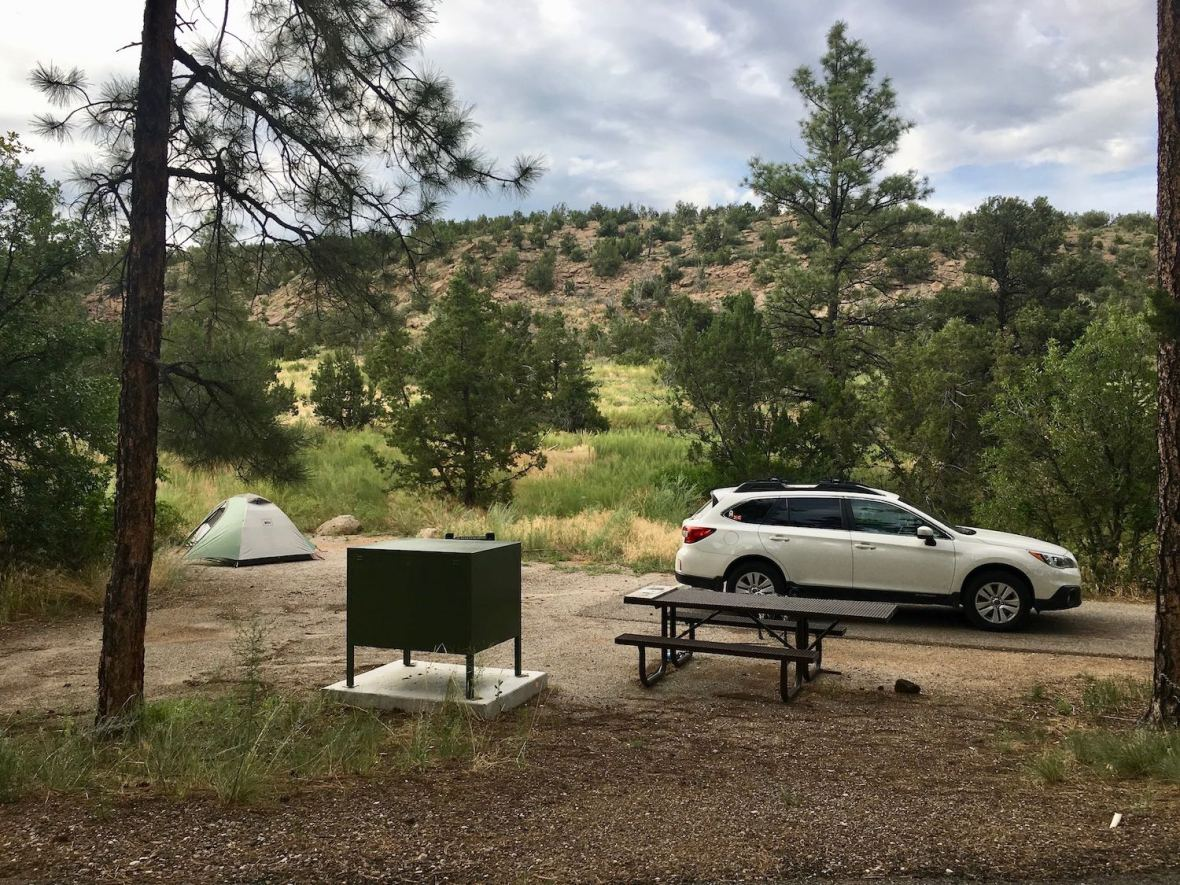 My campsite in the Juniper Family Campground at Bandelier National Monument