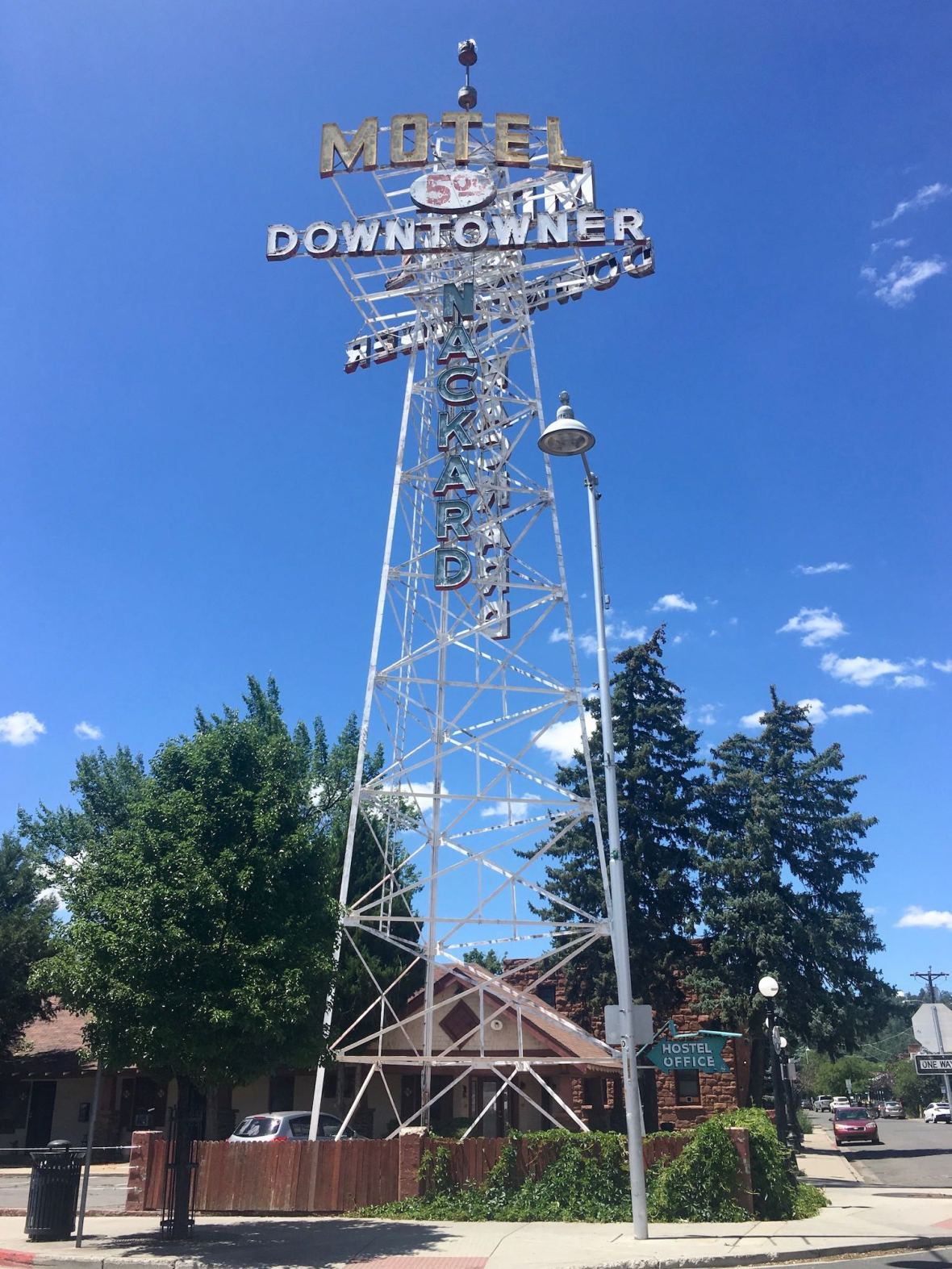 Downtowner Motel Hostel Sign in Flagstaff, Arizona