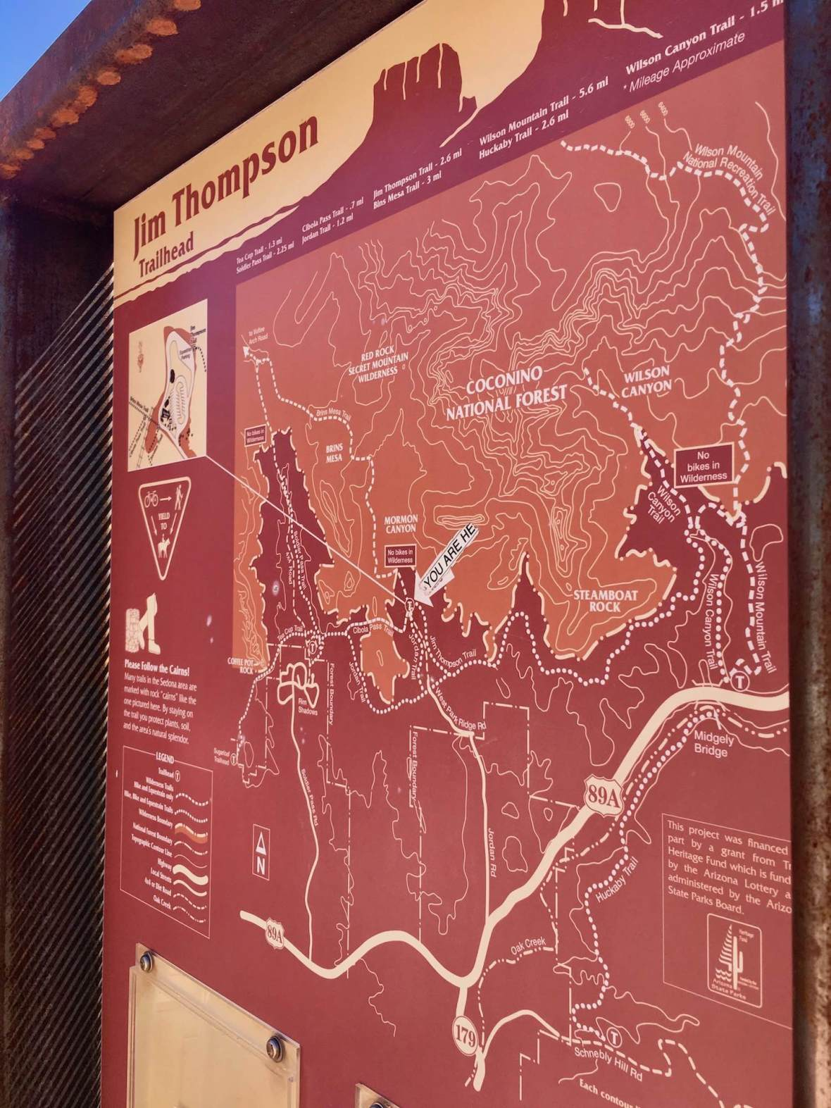 Jim Thompson trailhead map of Coconino National Forest in Sedona, Arizona